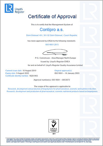 Contipro ISO 9001 certificate of approval